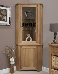 Oak Furniture Eton Solid Oak Furniture Corner Display Cabinet Unit With Light