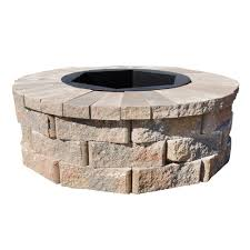 concrete fire pit exploding 30 in fossill limestone fire pit kit fsfpls30 the home depot