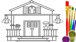 how to draw house for kids coloring pages and learn colors for