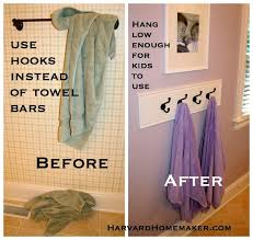 Towel Rack Ideas For Bathroom Colors Use Hooks Hung Low Enough So Your Child Can Reach To Hang Up