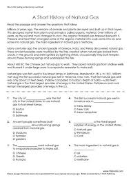 natural gas reading comprehension worksheet