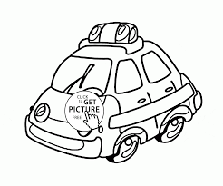 cartoon police car coloring page for preschoolers transportation