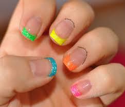 neon french tip with animal print and neon glitter u2013 happilyeverose