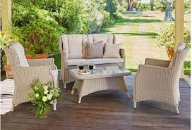 rattan effect 4 seater patio sofa set with cushions