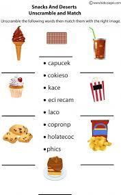 snacks unscramble worksheet