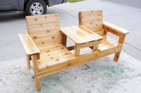 how to build a double chair bench with table free plans bench