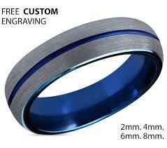 blue man rings images Mens wedding band blue silver wedding ring tungsten ring 6mm jpg