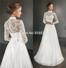 Greek Wedding Dresses Greek Wedding Dresses 2015 A Line High Neck Long Sleeves Bowknot