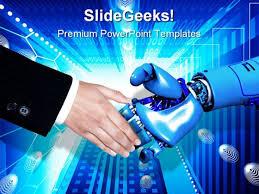handshake technology powerpoint template 0610
