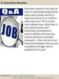 Executive Resume Samples by Top 8 Process Executive Resume Samples