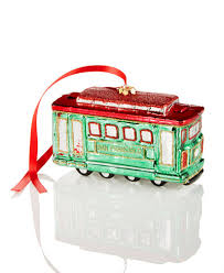 glass san francisco cable car ornament created for