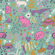 funny animals in flowers cartoon seamless pattern for childish