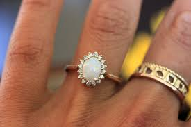 opal and diamond engagement rings opal engagement ring vintage inspired diamond halo yellow