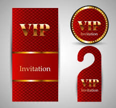 vip invitation card template sets shiny golden red vectors stock