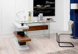 Office Desk Walnut Modrest Sven Contemporary White Walnut Desk Shelves Desks