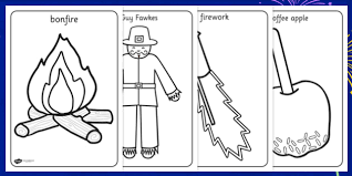 night words colouring sheet fireworks motor skills