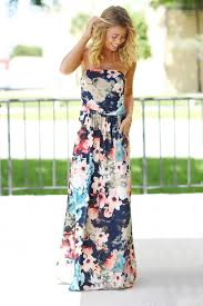 floral maxi dress strapless navy floral maxi dress with pockets maxi dresses