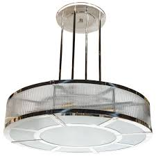 Art Deco Ceiling Light Fixtures Streamline Art Deco Style Circular Chandelier In Polished Nickel