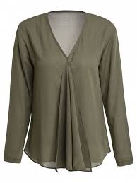 green blouses solid color pleated v neck sleeve blouse army green blouses