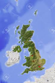 Great Britain On World Map by Great Britain Shaded Relief Map With Major Urban Areas