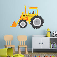personalised digger kids wall sticker i v c designs ltd personalised digger kids wall sticker
