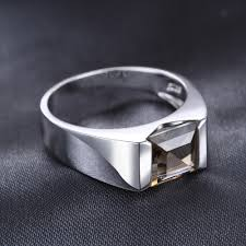 square silver rings images Jewelrypalace men 39 s square 2 2ct genuine smoky quartz wedding ring jpg