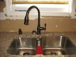 bathroom bronze danze faucets with double stainless steel sink
