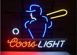 vintage coors light neon sign coors light baseball player sport neon sign club pub game sign