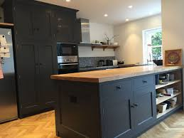 picture of dark grey kitchen with solid wood worktops shifano