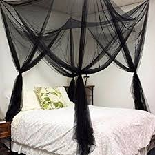 Canopy Bed Curtains Queen Amazon Com Black Four Corner Canopy Bed Netting Mosquito Net Full