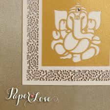 Asian Wedding Invitation Ganesha Palm Facing Forward Luxury Indian Hindu Asian Wedding