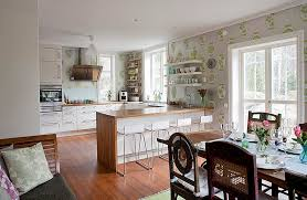Elegant Wallpapers Kitchens Small Kitchen Ideas With Elegant Wallpaper And U Shaped
