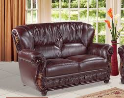 Burgundy Leather Sofa Burgundy Leather Loveseat With Wood Accents