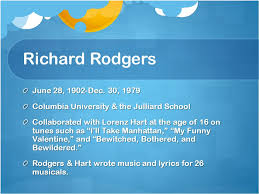 rodgers u0026 hammerstein a look at their works richard rodgers june