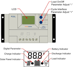 p20l lcd 20a pwm solar panel regulator charge controller with lcd