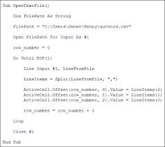 import a csv file using vba