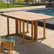 Teak Garden Table Butterfly Rectangle Folding Dining Table Olympus