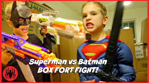 superman vs batman box fort fight kids nerf superhero real life