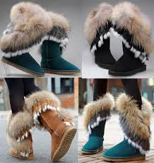 s boots with fur s mid calf leather boots rabbit fox fur winter fur