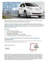 nissan leaf battery warranty aep ohio customers receive a 10 000 discount on nissan leafs
