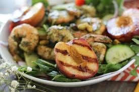 pesto shrimp u0026 grilled peach salad