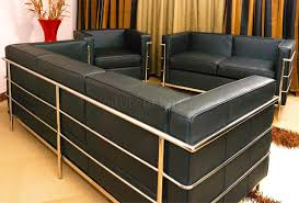 corbusier style grande modern sofa in black full leather
