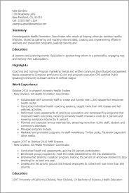 Sample Event Planner Resume Objective by Professional Health Promotion Coordinator Templates To Showcase
