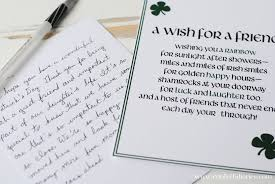 st patricks day writing paper a st patrick s day wish for a friend free printable katarina s letterandfrontofcard