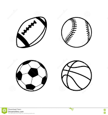 four simple black icons of balls for rugby soccer basketball and