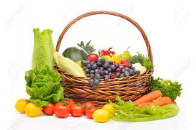 fruit and vegetable basket fruits and vegetables in basket isolated on white stock photo