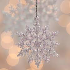 white iridescent glitter snowflake ornaments