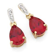 ruby drop earrings drop earrings with created ruby diamonds in 10kt yellow white gold