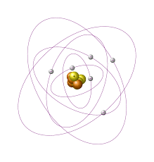 tikz pgf draw bohr atomic model with electron shells in tex