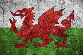 Flag Rsa Flag Of Wales Or Welsh Banner On Rough Metal Background Stock